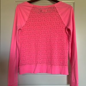Hot Pink Laced Long Sleeve Sweatshirt